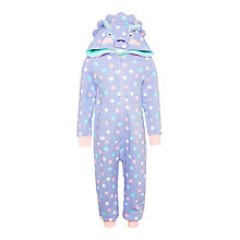 Buy John Lewis Children's Dinosaur Sweatshirt Onesie, Purple Online at johnlewis.com