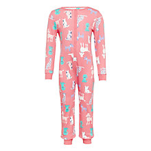Buy John Lewis Children's Dog Walk Jersey Onesie, Pink Online at johnlewis.com
