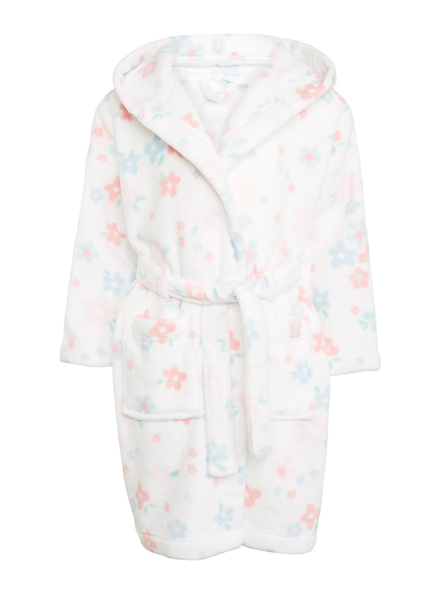 John Lewis Partners Childrens Faded Floral Dressing Gown White