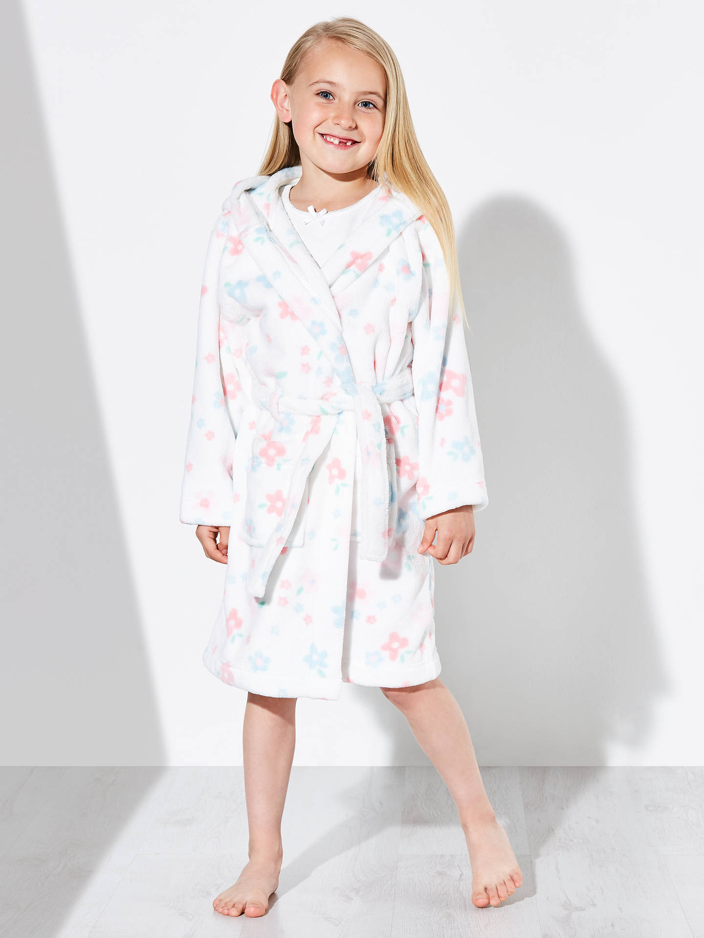 John Lewis Children\'s Faded Floral Dressing Gown, White/Pastels at ...