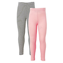 Buy John Lewis Girls' Stripe And Polka Dot Leggings, Pack of 2, Pink/Grey Online at johnlewis.com