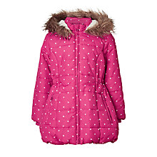 Buy John Lewis Girls' Star Print Longline Coat, Pink Online at johnlewis.com