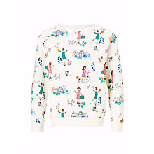 Buy John Lewis Girls' All-Over Garden Print Sweatshirt, Gardenia Online at johnlewis.com