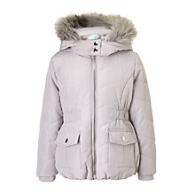 Buy John Lewis Girls' Faux Fur Trim Hooded Coat, Silver Online at johnlewis.com
