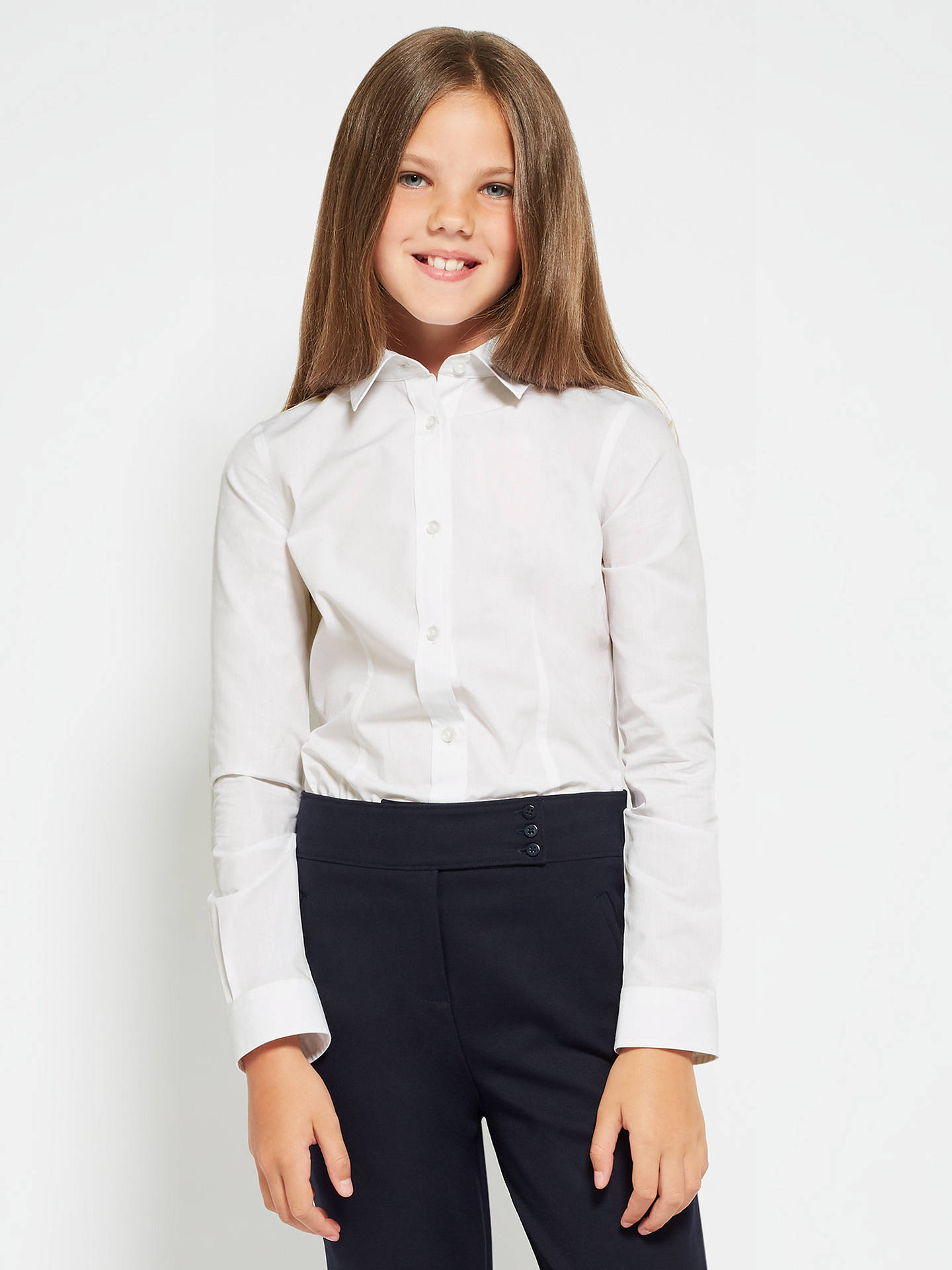 a594e0933 Buy John Lewis & Partners Senior Girls' Long Sleeve Fitted School Blouse,  Pack of ...