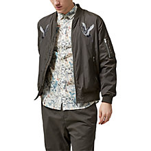 Buy Selected Homme Bertram Bird Motif Bomber Jacket, Black Olive Online at johnlewis.com