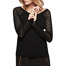 Buy Gerard Darel Arty Lace Sleeve Knit Jumper, Black Online at johnlewis.com