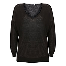 Buy Mint Velvet V-Neck Side Split Linen Knit Jumper Online at johnlewis.com