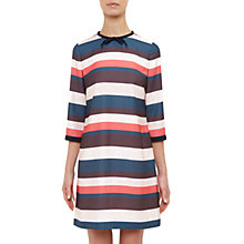 Buy Ted Baker Colour By Numbers Yakira Stripe Print Tie Neck Dress, Coral Online at johnlewis.com