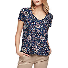 Buy Gerard Darel Sierra Floral V-Neck T-Shirt, Blue Online at johnlewis.com