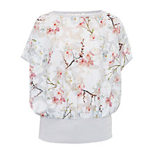 Buy Ted Baker Oriental Blossom Fellia Blouson Top, Light Grey Online at johnlewis.com