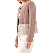 Buy Jigsaw Colour Block Suede Jacket, Pink Ash Online at johnlewis.com