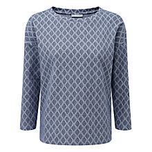 Buy Pure Collection Cindy Sweatshirt, Navy Diamond Jacquard Online at johnlewis.com