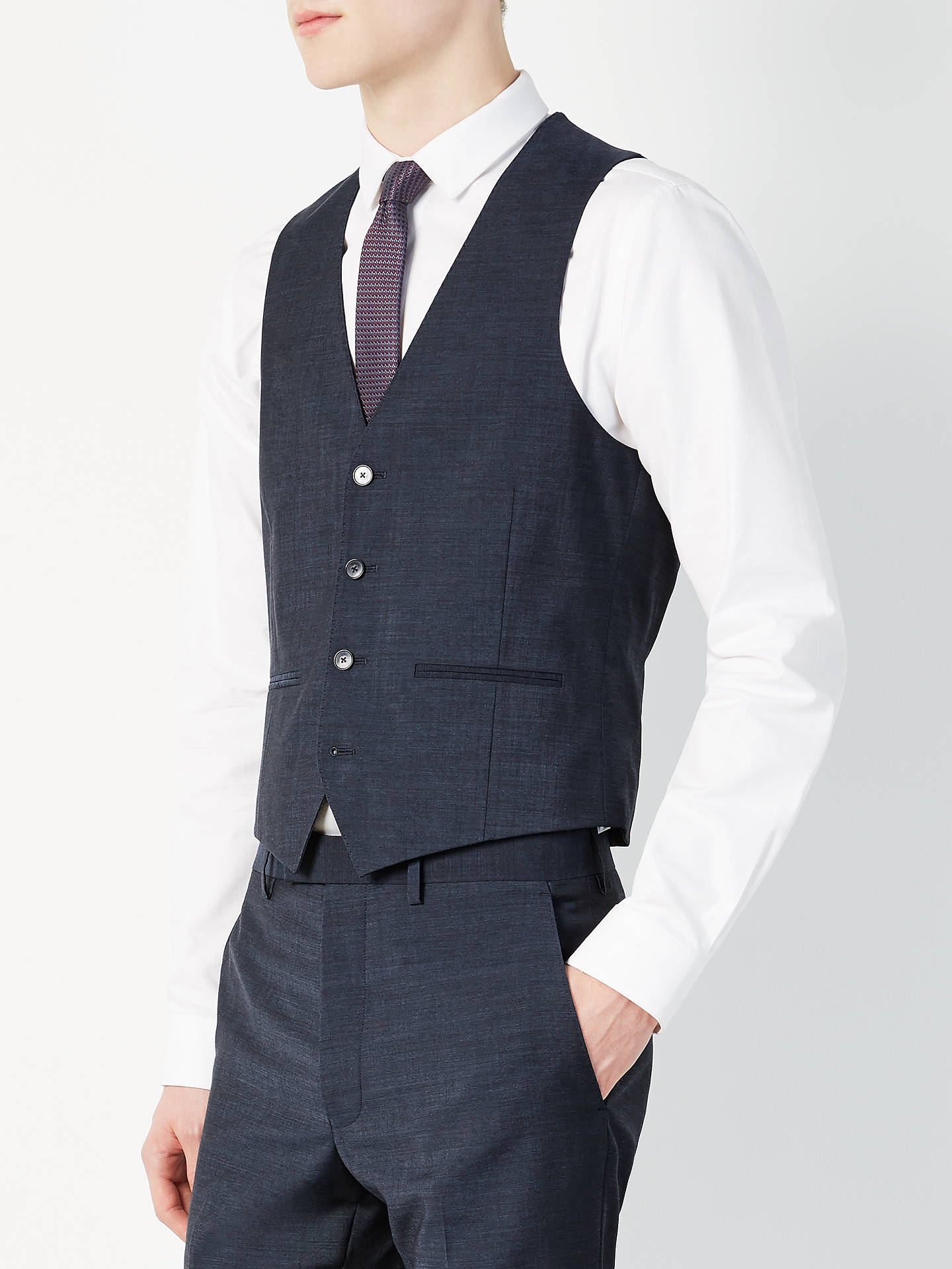 BuyKin Addison Tonic Slim Fit Waistcoat, Petrol, 36R Online at johnlewis.com