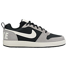 Buy Nike Court Borough Low Premium Men's Trainers, Black/Silver Online at johnlewis.com