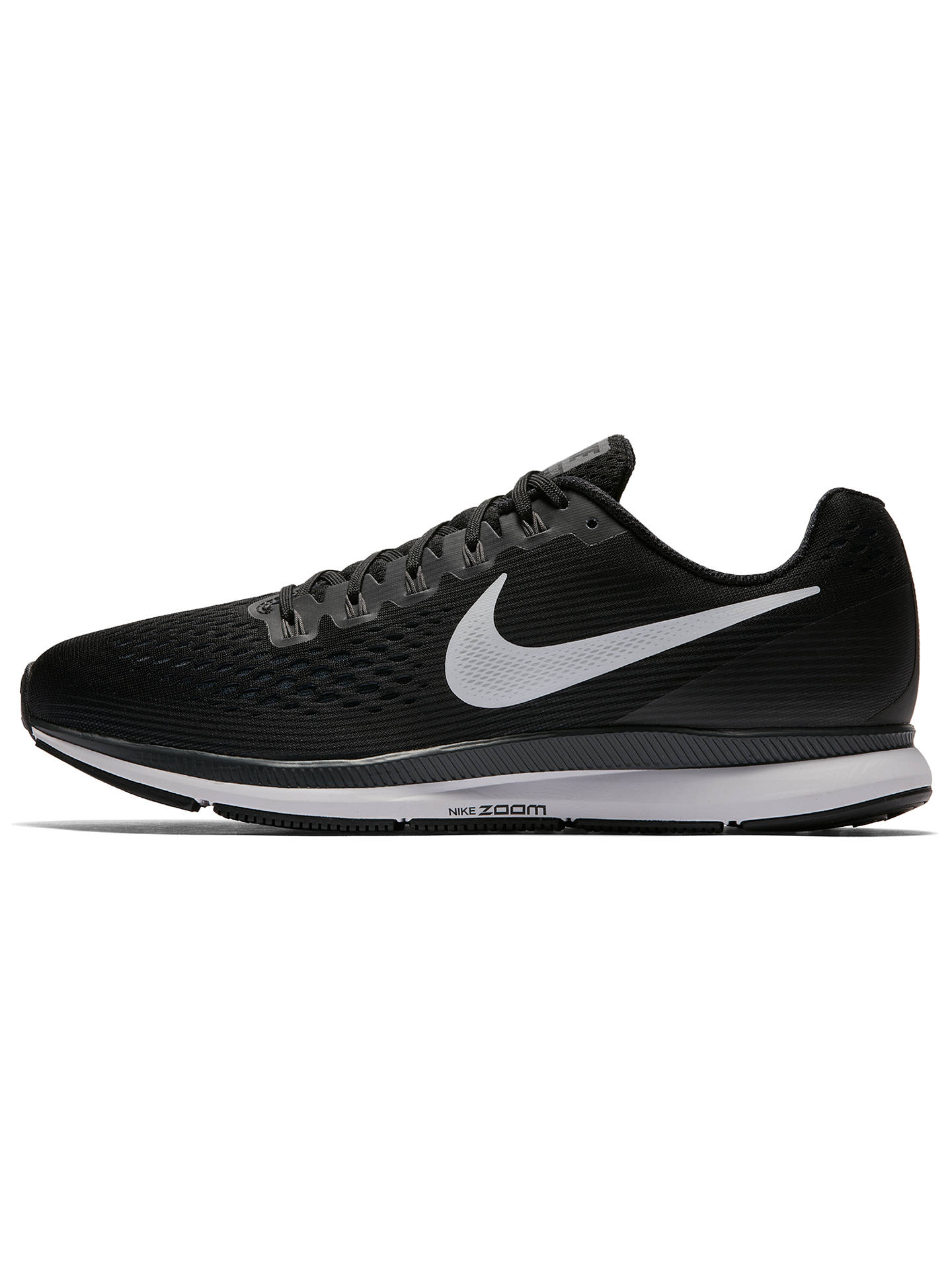 Zanahoria Inmundo suéter  Nike Air Zoom Pegasus 34 Men's Running Shoes, Black/White at John Lewis &  Partners