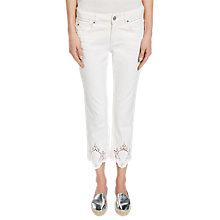 Buy Oui Lace Detail Jeans, Gardenia Online at johnlewis.com