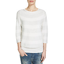 Buy Oui A-Line Stripe Jumper, Light Grey/White Online at johnlewis.com