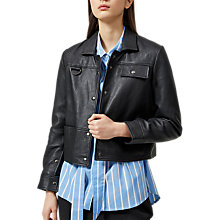 Buy Selected Femme Ravy Leather Jacket, Black Online at johnlewis.com