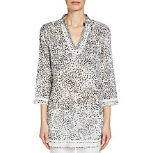 Buy Oui Animal Print Top, White/Camel Online at johnlewis.com
