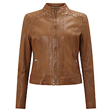 Buy BOSS Orange Janabelle Leather Jacket, Light Brown Online at johnlewis.com