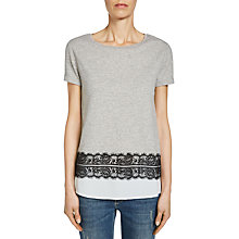 Buy Oui Double Layer T-Shirt, Light Grey/White Online at johnlewis.com