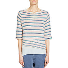 Buy Oui Stripe Jumper, Apricot/Blue Online at johnlewis.com