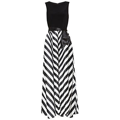Gina Bacconi Jersey Bodice Satin Stripe Maxi Dress, Black/White