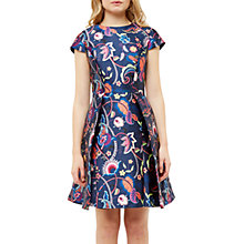 Buy Ted Baker Fluxam Folk Foliage Skater Dress, Dark Blue Online at johnlewis.com
