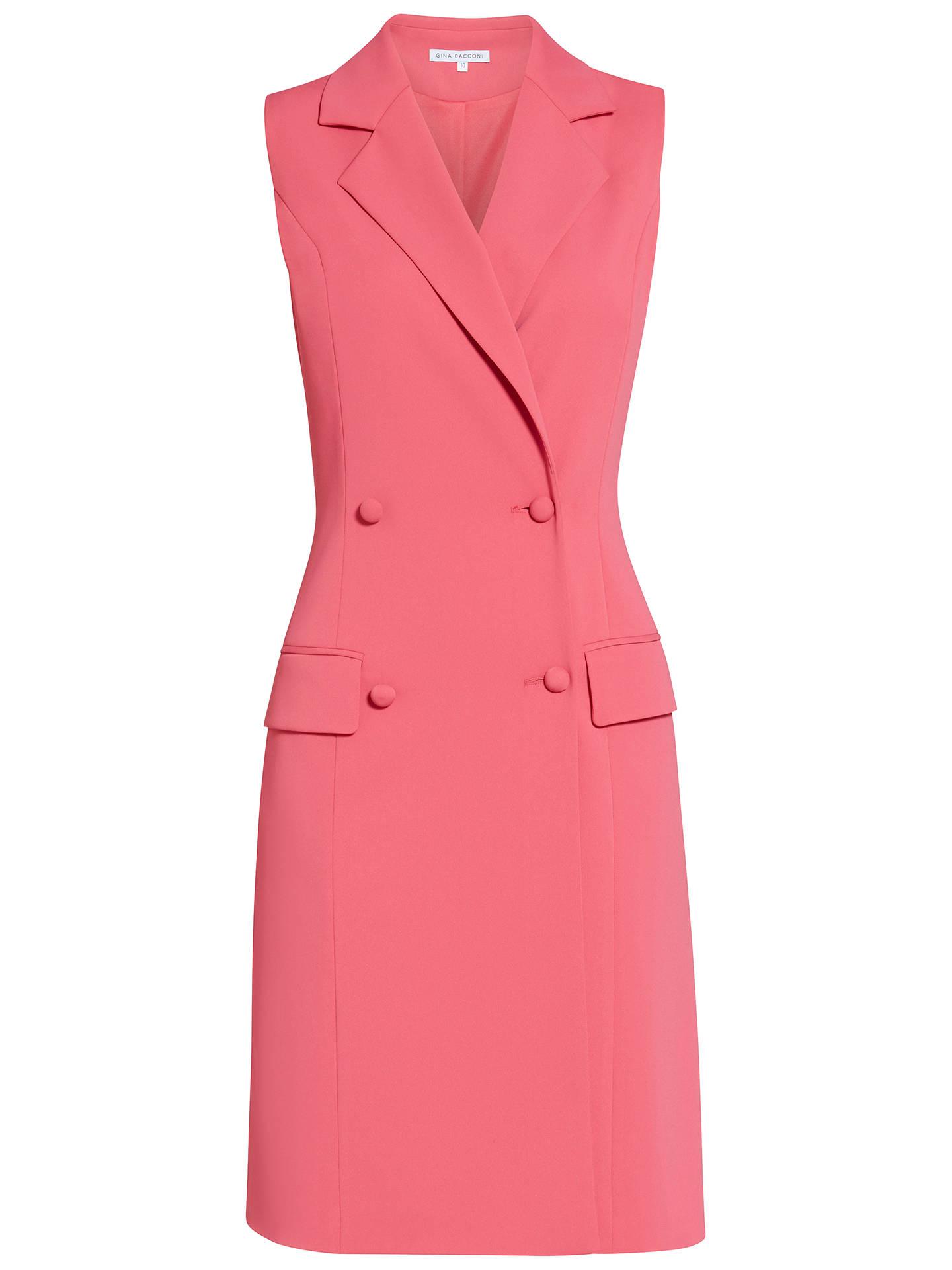 Gina Bacconi Crepe Double Breasted Coat Dress At John Lewis Partners Magenta Blazer Buygina Coral Red 8 Online Johnlewis