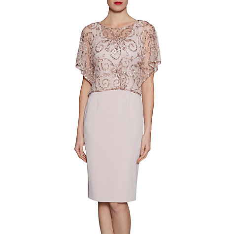 Buy Gina Bacconi Crepe Dress With Beaded Over Top Online at johnlewis.com