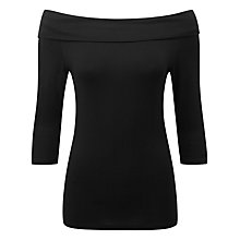 Buy Pure Collection Jersey Bardot Top, Black Online at johnlewis.com