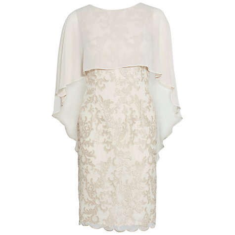 Buy Gina Bacconi Corded Lace Dress And Chiffon Cape, Butter Cream Online at johnlewis.com