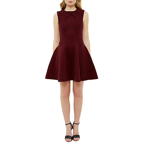 Buy Ted Baker Azelia A-Line Dress, Maroon Online at johnlewis.com