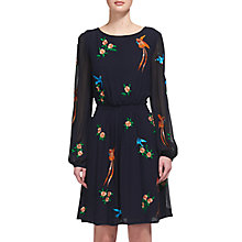 Buy Whistles Aria Embroidered Bird Dress, Blue/Multi Online at johnlewis.com