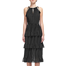 Buy Whistles Amena Print Tiered Dress, Black/White Online at johnlewis.com