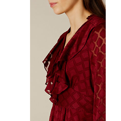 Buy Karen Millen Ruffle Midi Dress, Burgundy Online at johnlewis.com