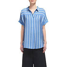 Buy Whistles Ellen Stripe Casual Shirt, Blue/Multi Online at johnlewis.com