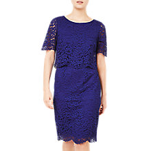 Buy Jacques Vert Floating Bodice Lace Dress, Mid Blue Online at johnlewis.com