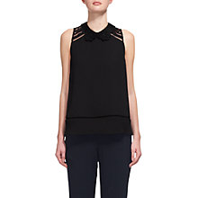 Buy Whistles Odette Lace Trim Collar Top, Black Online at johnlewis.com