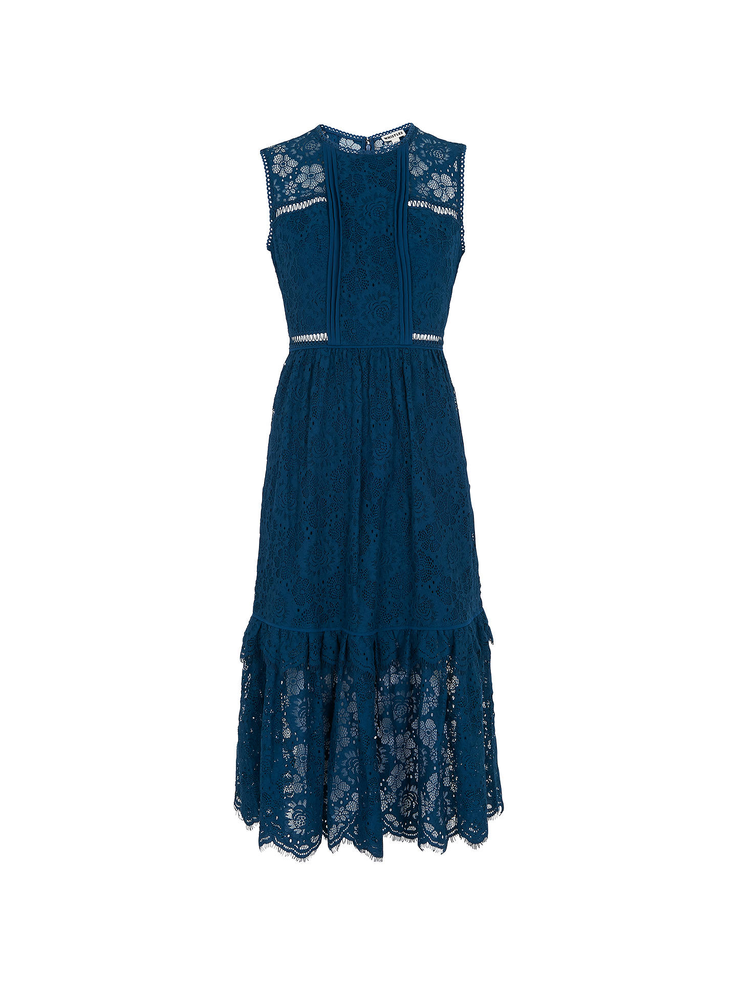 Buy Whistles Rosie Lace Panel Dress, Prussian Blue, 6 Online at johnlewis.com