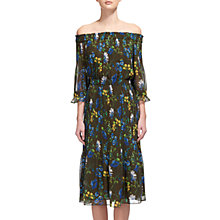Buy Whistles Penelope Off The Shoulder Floral Dress, Khaki Online at johnlewis.com