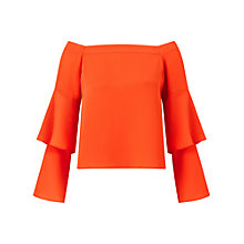 Buy Miss Selfridge Double Sleeve Bardot Top, Orange Online at johnlewis.com