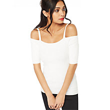 Buy Miss Selfridge Tie Shoulder Bardot Rib Top, White Online at johnlewis.com