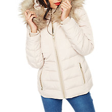 Buy Miss Selfridge Quilted Puffa Jacket, Nude Online at johnlewis.com