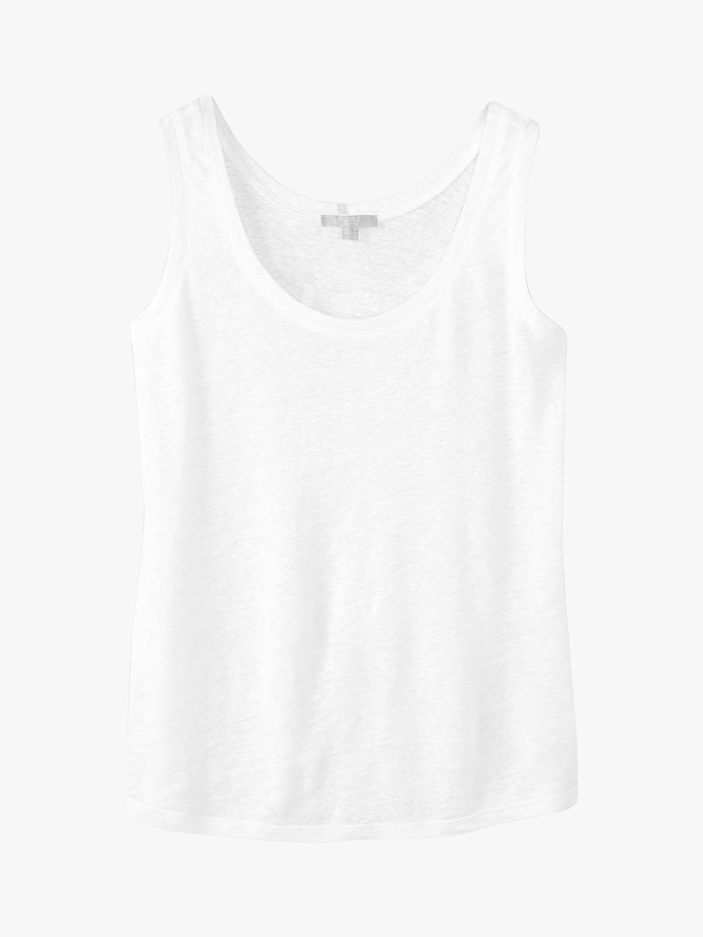 Pure Collection Linen Jersey Vest at John Lewis & Partners