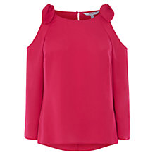 Buy Coast Perle Bow Cold Shoulder Top, Pink Online at johnlewis.com