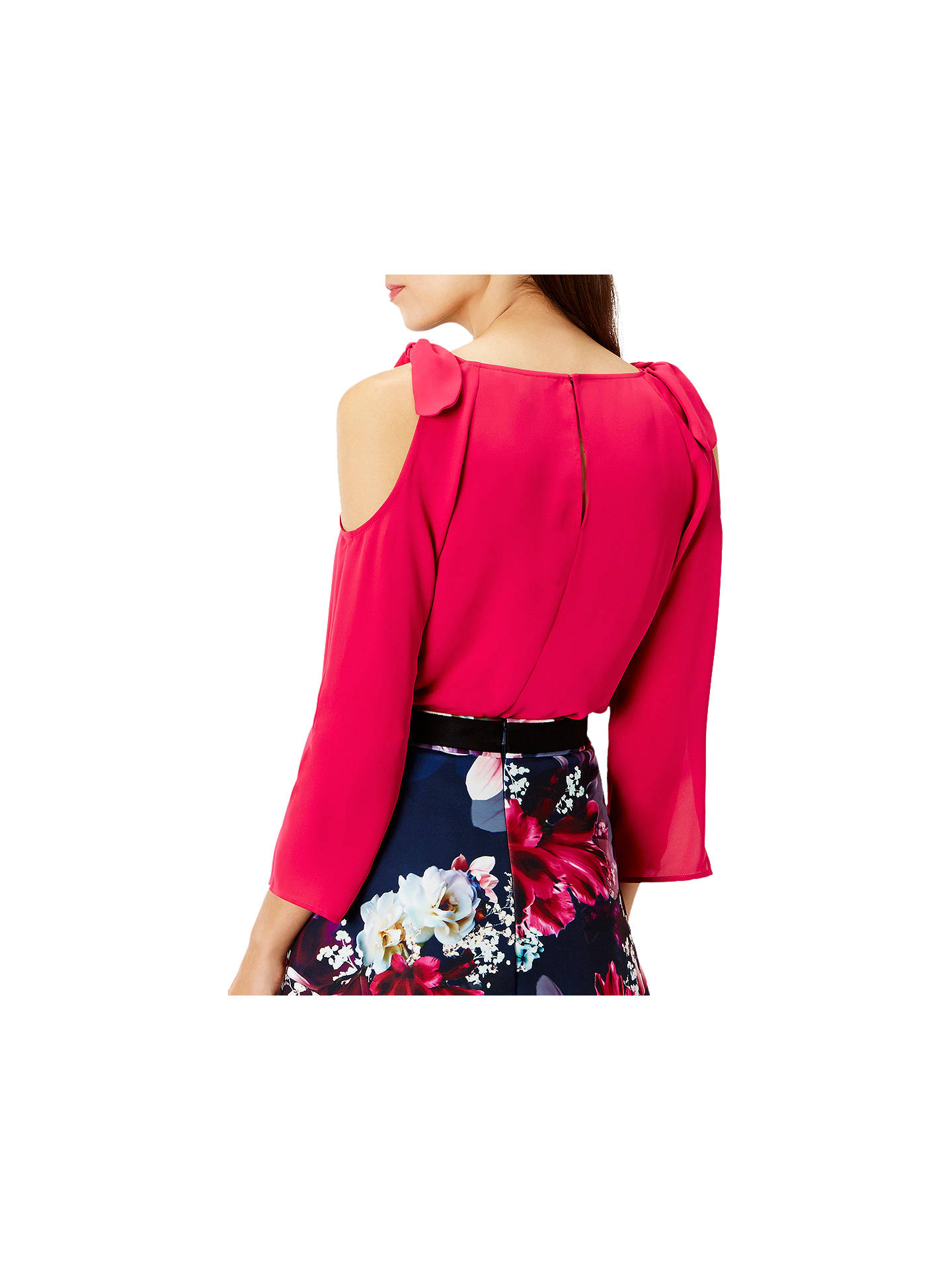 BuyCoast Perle Bow Cold Shoulder Top, Pink, 6 Online at johnlewis.com