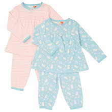 Buy John Lewis Baby Jersey Mouse Long Sleeve Pyjamas, Pack of 2, Pink/Blue Online at johnlewis.com