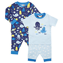Buy John Lewis Baby Jersey Octopus Pyjamas, Pack of 2, Blue/Multi Online at johnlewis.com